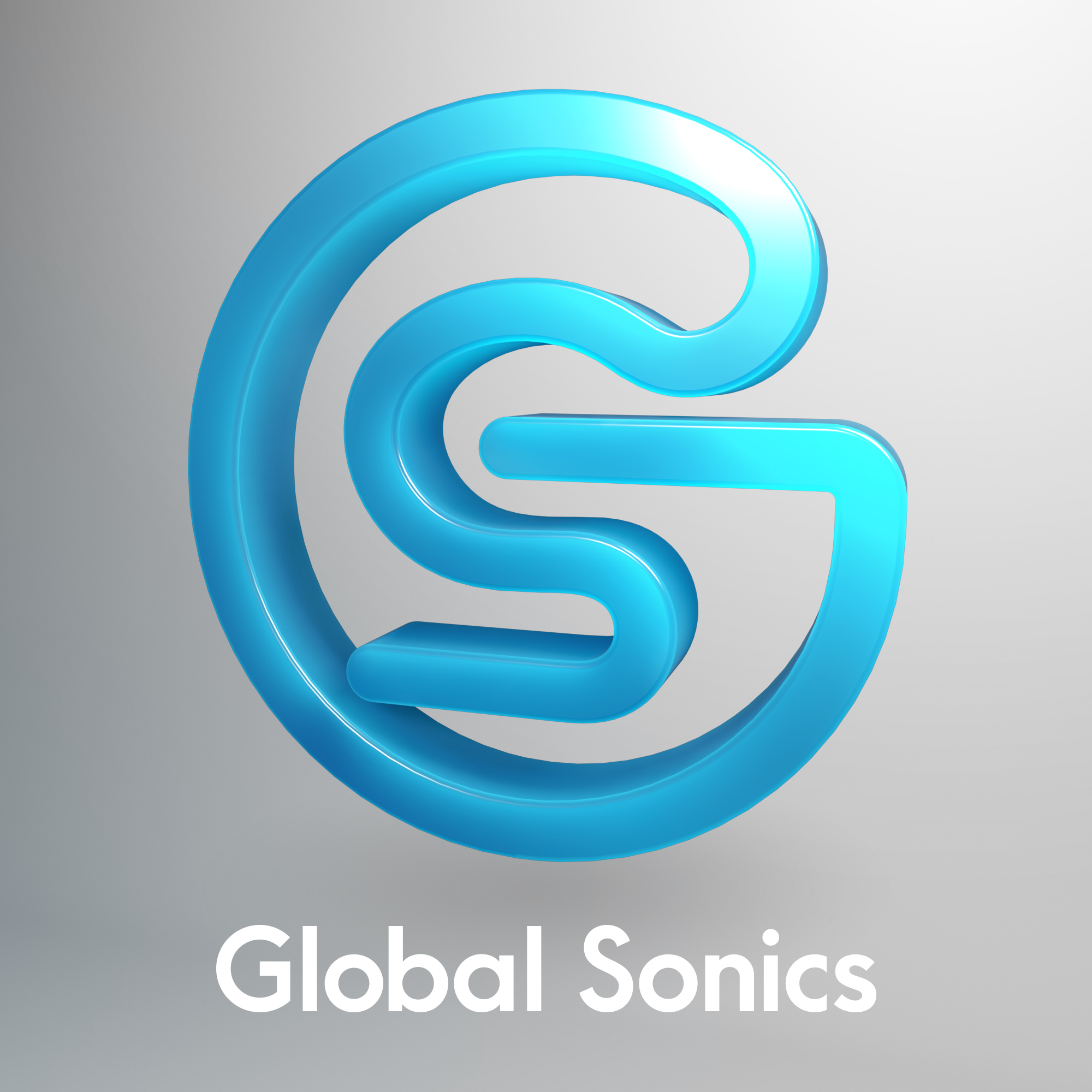 Global Sonics - 3D logo, grey background and white text
